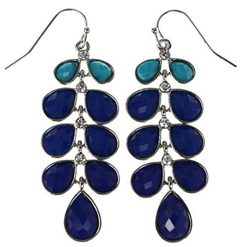 Faceted Teardrop Ombre Dangle-Earrings With Crystal Accents Blue & Silver-Tone Colored #MQE025