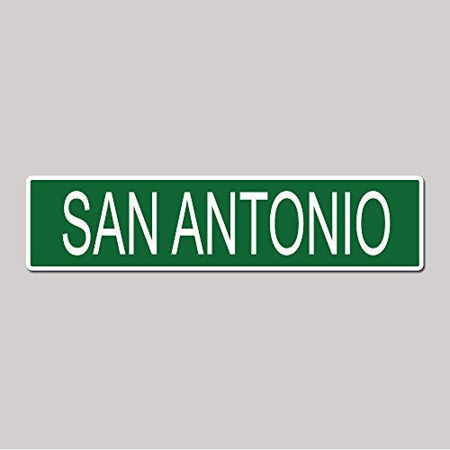 SAN ANTONIO City Pride Green Vinyl on White - 4X17 Aluminum Street Sign