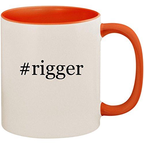 (#rigger - 11oz Ceramic Colored Inside and Handle Coffee Mug Cup, Orange)