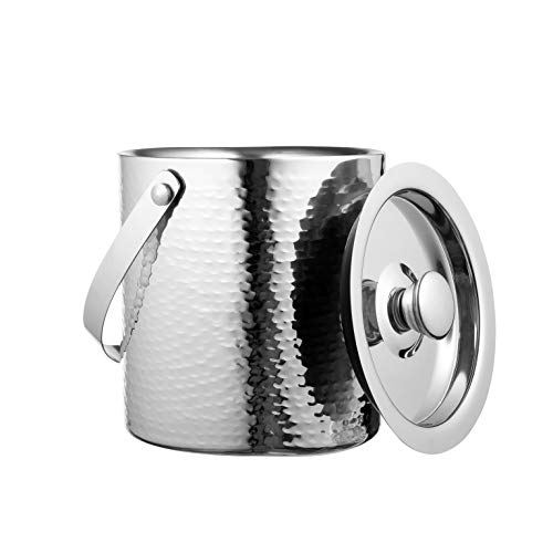 Colleta Home Hammered Ice Bucket – Ice Bucket with Tongs – Insulated Ice Bucket with Lid – Double Wall Ice Bucket