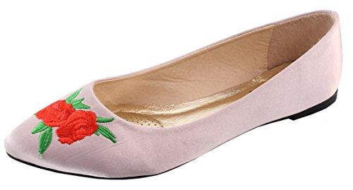 Elegante Calzature Donna Ricamato Rosa Floreale Anni 90 Punta A Punta Balletto Piatto Arrossire