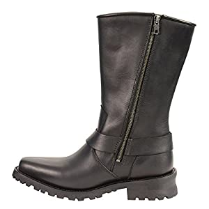 Milwaukee Leather Men's Harness Boots with Braid Riveted Details (Black, Size 10)