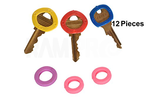 (RAM-PRO 12PC Color Coded Key Identifier Rings Plastic Tags - Key Sleeves Rings in 6 Different Colors...)