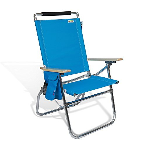 High Seat Beach Folding Chair Lightweight Alumium Frame Recline with Cup Holder and Storage Pouch for Outdoor Camping Hiking in USA