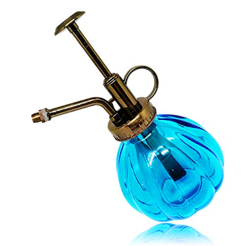 SENLIXIN Plant Mister Flower Water Spray Bottle Can Pot | Vintage Pumpkin Style Decorative Glass Plant Atomizer Watering Can Pot with Top Pump for Indoor Potted Plants Terrariums Flowers (Blue)