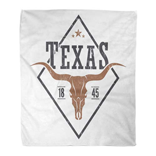 Golee Throw Blanket Star Texas State Tee Longhorn Skull Graphics Stamp Label Retro 50x60 Inches Warm Fuzzy Soft Blanket for Bed Sofa