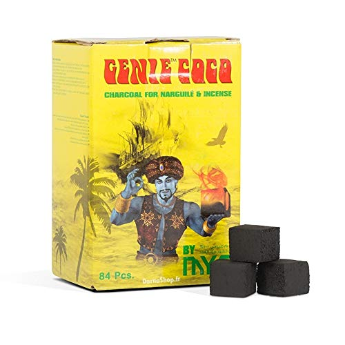 MYA Genie Coco Large Shisha Coals - 84 Pcs All-Natural Coconut Shell Charcoal Cubes