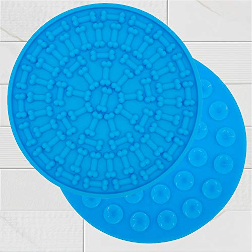 SHOR Dog Lick Mat | Dog Distraction Peanut Butter Mat for Easy Shower, No-Stress Dog Bathing Time | Bath to The Bone Licking mat for Dogs Washing, Grooming, Calming and Training (Light Blue) ()