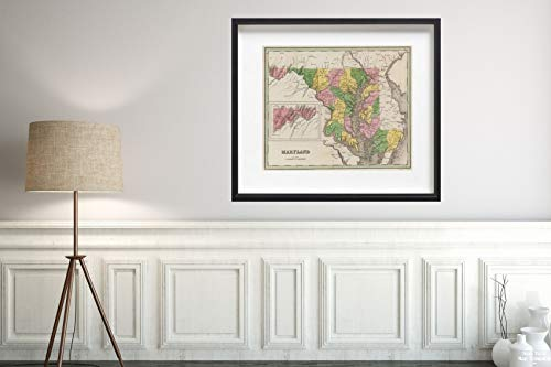 1841 Map World Atlas Maryland Historic Antique Vintage Reprint Size: 20x24 Ready to ()