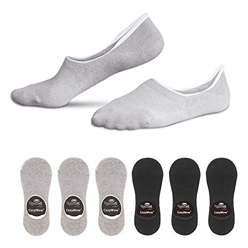 Cozywow Cotton No Show Socks Low Cut Non Slip Sports Casual Socks with Grip Gel for Women & Men 3Pairs/6 Pairs (US Women Shoe 7.5-9.5 = Men 6-8, 3 Black + 3 Grey)