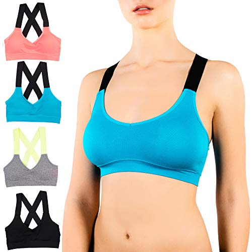 Alyce Athletics Womens Criss Cross Strap Sports Bra, Pack of 4