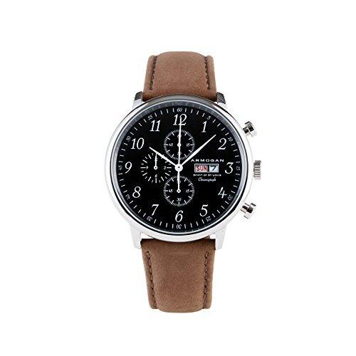 Armogan Spirit of St. Louis - Silver Black - Reloj cronógrafo hombre con correa de ante: Amazon.es: Relojes