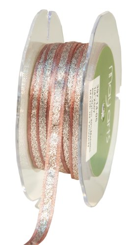 May Arts 1/4-Inch Wide Ribbon, Dusty Lavender Satin with Silver Center