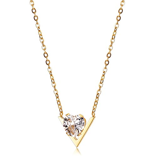 JINBAOYING Cubic Zirconia Pendant Necklace 18K Gold Plated Stainless Steel Chain Diamond Crystal Necklace for Women, 18