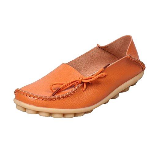 Heheja Mujer Mocasines de Cuero Loafers Casual Piso Zapatos Zapatillas con Bowknot Naranja