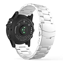 Garmin Fenix 3 Watch Band, MoKo Universal Stainless Steel Watch Band Strap Bracelet for Fenix 3 / Fenix 3 HR / Fenix 5X Smart Watch, Watch Not Included - SILVER