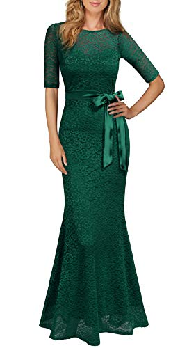 (REPHYLLIS Women's Retro Floral Lace Vintage Wedding Maxi Bridesmaid Long Dress(M,Green))
