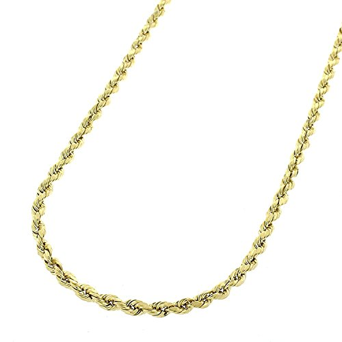 14k Yellow Gold 2mm Hollow Rope Diamond-Cut Link Twisted Chain Necklace 16'' - 24'' (22) by In Style Designz