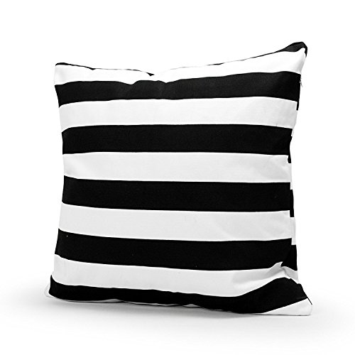Sinoguo Stripe 18 x 18-Inch Large Throw Pillow Cover, Black