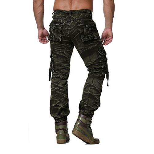 Men's Relaxed Fit Cargo Pants Casual Regular Fit Multi Pocket Military Combat Work Pants Trousers (XXL, Camouflage)