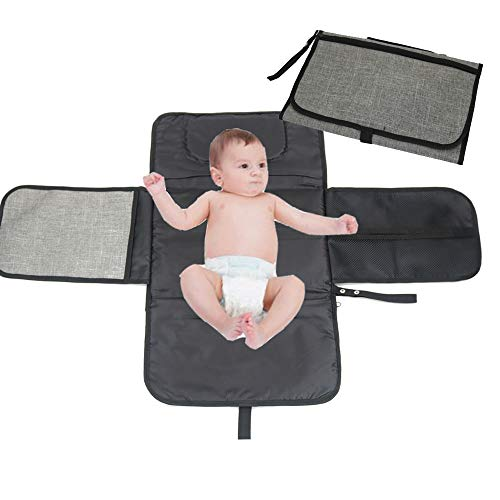 PFFY Portable Changing Pad Station for Diaper Bag for Newborn Baby (Gray & Black)