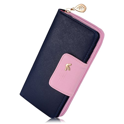 PGXT Women's Long With Zipper Double Color Leather Card Holder Purse Wallet Dark Blue