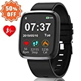 Smart Watch for Men Women 1.44''HD Touch Screen Fitness Tracker ios iphone Android Phone Compatible Smart Watches with Blood Pressure and Heart Rate monitor,Sleep Monitor
