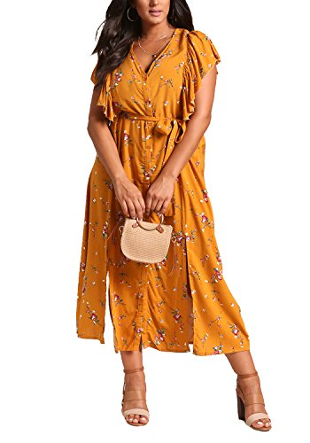 Debshops Femmes Taille Plus Floral Fente Multiple Moutarde Robe Maxi Volantée