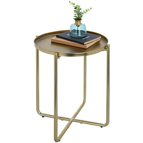 MyGift 19-Inch Brass-Tone Metal Mid-Century Accent Table