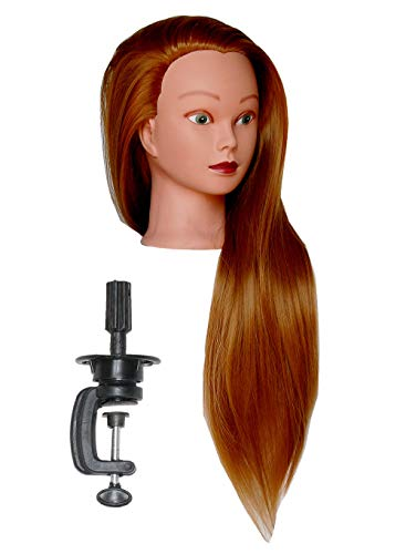 Bellrino 30 (Long and thick) Cosmetology Mannequin Manikin Training Head with Synthetic Fiber with Table Clamp Holder (ELLEN+C)