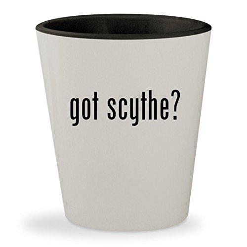 got scythe? - White Outer & Black Inner Ceramic 1.5oz Shot Glass (Scythe Cooler Ninja)