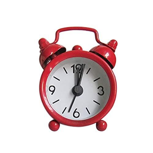 Hunagou Twin Bell Alarm Clock with Stereoscopic Dial, Backlight, Battery Operated Loud Alarm Clock Creative Cute Mini Metal Small Alarm Clock Electronic Small Alarm Clock (6.3x2x4.3cm, Red) ()