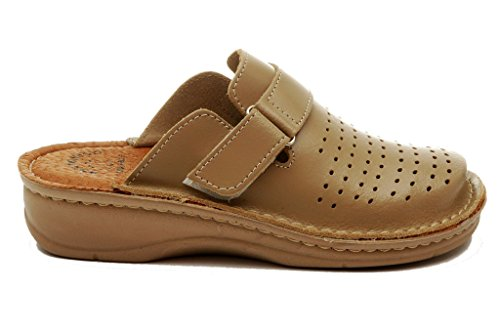 Dr Mules Chaussons Cuir Beige Punto Chaussures BRIL Femme Dames D52 Sabots Rosso en 66qTwr