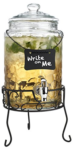 (Classic Beverage Drink Dispenser Hammerd Durable Glass on Stand 1.5 Gallon with Chalk Board And Spigot)