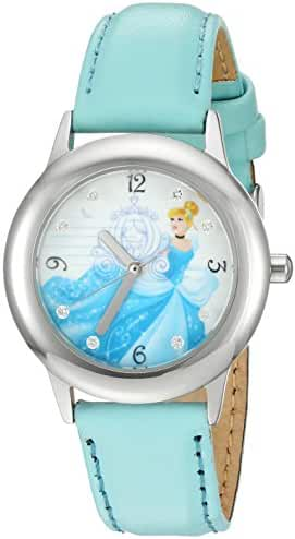 Disney Girl's 'Cinderella' Quartz Stainless Steel and Leather Automatic Watch, Color:Blue (Model: W002937)