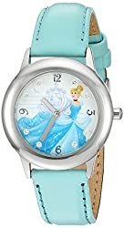 Disney Girl's 'Cinderella' Quartz Stainless Steel and Leather Watch, Color:Blue (Model: W002937)