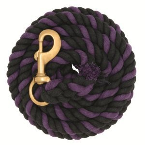 WEAVER PURPLE AND BLACK 10' COTTON LEAD ROPE WITH BRASS SNAP HORSE TACK Purple and Black