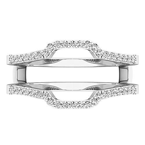 Dazzlingrock Collection 0.25 Carat (ctw) 10K White Diamond Wedding Band Enhancer Guard Ring 1/4 CT, White Gold, Size 7.5 by Dazzlingrock Collection (Image #3)