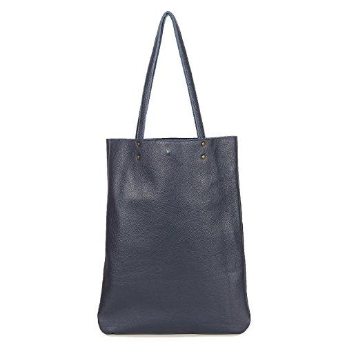 Leah Lerner Women Tote Bag Genuine Leather Made in USA (Denim Blue)