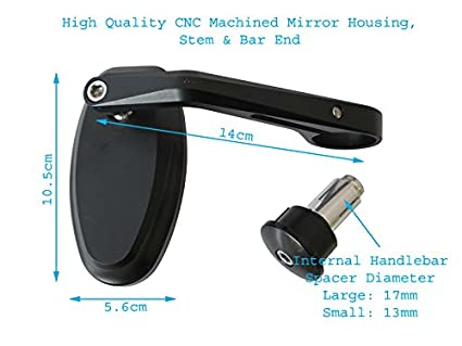 High Quality Handlebar End Mirrors with 8mm Blanking Plugs - CNC Machined Aluminium right side reverse thread PAIR