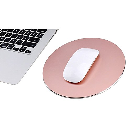 TopYart Metal Mouse Pad Circular Reversible Waterproof Aluminium Gaming Mouse Pad with Fireproof Non Slip Rubber Base Smooth Edges Frosted Surface Computer Laptop Mousepad - 220×220mm,Rose Gold