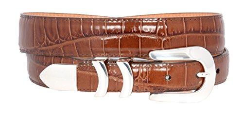 Brighton Mens Catera Croco Taper Belt (PEANUT - Croco Leather Belt