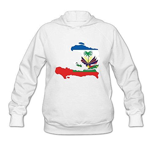 Women's Haiti Map Flag Long Sleeve Hooded Sweatshirt by QTHOO