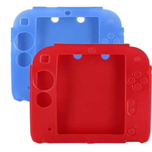lilyy® 2 Packs Red & Blue Anti-slip Soft Silicone Skin Case Cover for Nintendo 2DS,