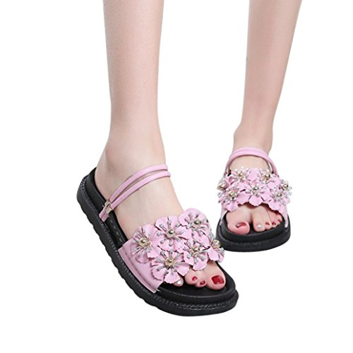 Tacón mujer para verano Rosa de Planas Sólido de Playa Moda Sandalias planas Mujer Color Sandalias de Flor Zapatilla IwqxOFq1B