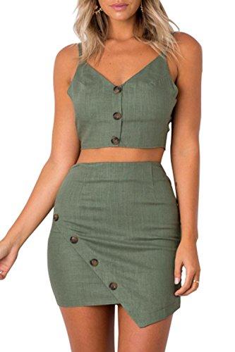 の圧力正当化する女性の2個の一式をスリップボタンcaniと短いbodycon党スカート