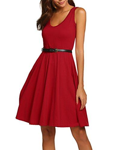 MISELON Women V Neck Sleeveless Party Empire Waist Skater Dress with Pocket(Dark Red, M) ()