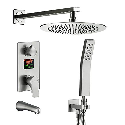 (Charmingwater Shower System,Shower Faucet Set with Tub Spout and LED Digital Fahrenheit Display Valve Shower Combo Set, Shower Fixture Brushed Nickel (Contain 10in Rainfall Shower)