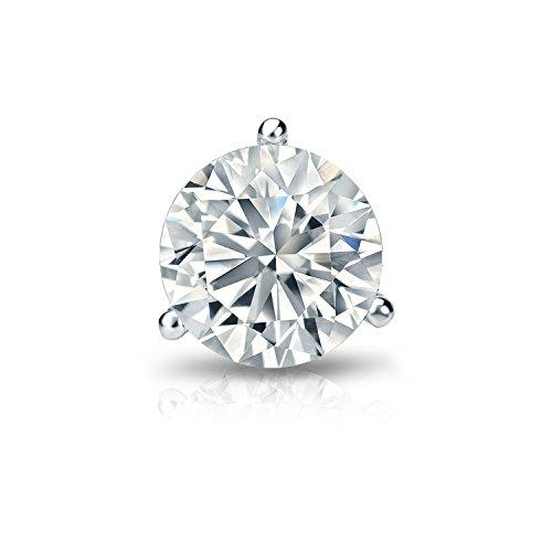 14k White Gold 3-Prong Martini Round Diamond SINGLE STUD Earring (1/8 cttw, H-I, I2-I3) screw back (Stud Earrings Martini Diamond)
