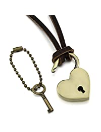 MeMeDIY Gold Tone Brown Alloy Genuine Leather Pendant Necklace Heart Key Lock Adjustable ,come with Chain - Customized Engraving